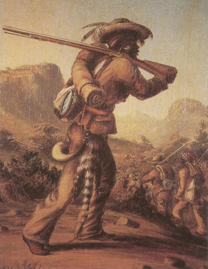Mfengu (Fingo) soldier in Cape Colony, painting from the mid 1800s