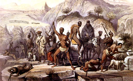 An artist's depiction of the Xhosa Wars in 1851, showing Khoikhoi and Xhosa