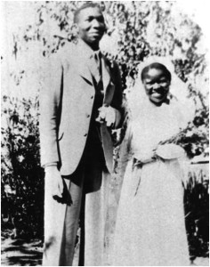 Govan and Epainette Mbeki at their wedding, Mangoloaneng, 8 January 1940