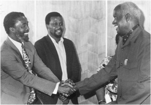 Thabo Mbeki and Kenneth Kaunda, late 1980s (Zambian Information Service)