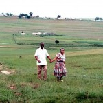 Thabo Mbeki and his wife Zanile, walking in the fields of his home town Idutywa, eNgcingwana