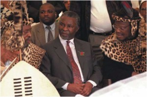 Thabo Mbeki with the Zulu King Zwelithini and Prince Mangosuthu Buthelezi, commemorating the Battle of Blood River, 16 December 1998