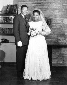 1958 June 14, Nelson and Winnie Mandela Nelson on their weding day