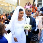 Bride Zizo and groom Mayihlome Tshwete leave the church after tying the knot yesterday