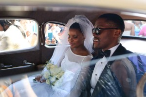Bride Zizo and groom Mayihlome on the way to the reception