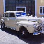 The car that will whisk @MTshwete and #ZizoBeda away is a 1948 Ford Super Deluxe. #Wedding