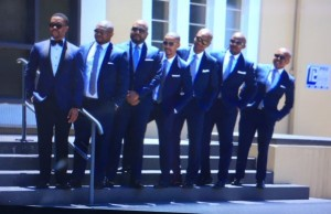 #Wedding Groom @MTshwete with his groomsmen on the steps of the St Saviour Anglican Church in East London