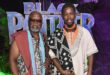 John Kani & Athandwa Kani on the premiere of Black Panther dressed by MaXhosa by Laduma (Xhosa culture inspired designs)